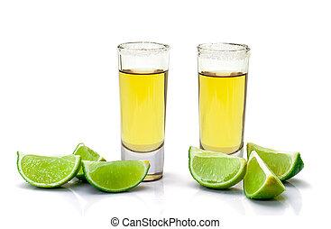 tequila, rebanada, tiro, oro, cal