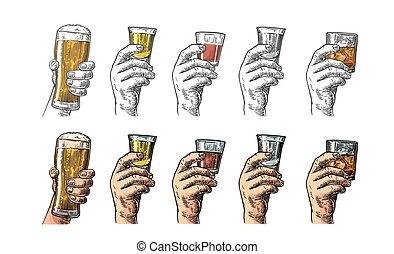 tequila, rhum, bière, glace, main, whisky, tenue, cubes., ...