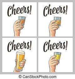 tequila, rhum, bière, main, verre, tenue, whiskey., mâle