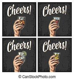 tequila, rhum, gin, main, verre, tenue, whiskey., mâle