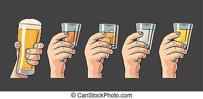 tequila, ron, cerveza, hielo, mano, whisky, tenencia, cubes...