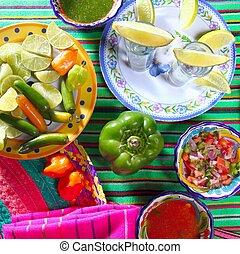 tequila, sal, limón, mexicano, chile, salsas, pimienta