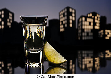 Tequila shoot in cityscape setting