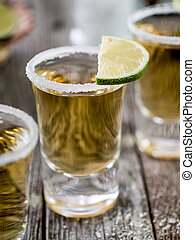 Tequila shots with salt rim - Tequila shots served with salt...