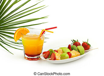 tequila sunrise cocktail and fruit skewers