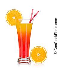 Tequila sunrise cocktail and orange. Isolated on white background