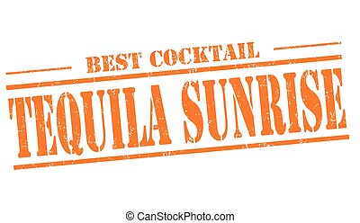 Tequila sunrise cocktail stamp