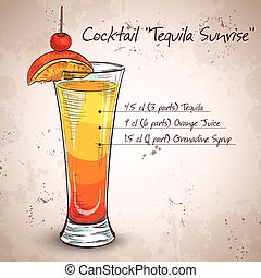 Tequila sunrise realistic cocktail
