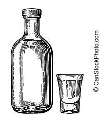 tequila., vecteur, illustration, botlle, verre
