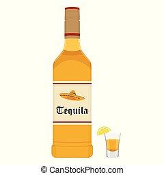 tequila, vettore, bottiglia