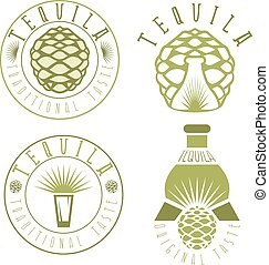 tequila vintage set labels with agave and bottles