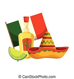 tequila with mexican hat and flag cinco de mayo celebration ...