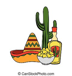 tequila with mexican hat and nachos cinco de mayo ...