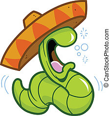 drunk drinking partying celebrating tequila worm about to burp or hurl, wearing a mexican sombrero