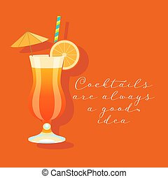 Tequile sunrise cocktail vector illustration