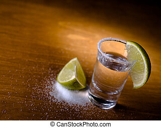 Tequla and lime - Tequila shot, salt and lime