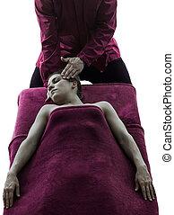terápia, fej, árnykép, masszázs