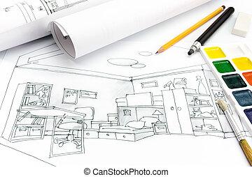 terület, munka, rajzoló, eszközök, rajz, kilátás