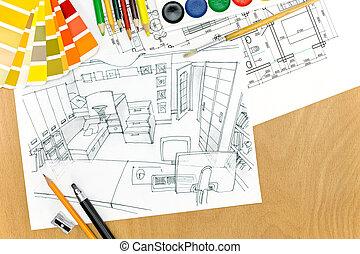 terület, tető, munka, designer??s, eszközök, rajz, kilátás