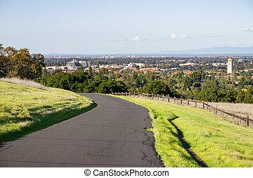 terület, város, felé, vörösfenyő, stanford egyetem, öböl, francisco, kalifornia, tál, kilátás, dombok, szanatórium