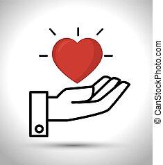 ter, desenho, coração, mão