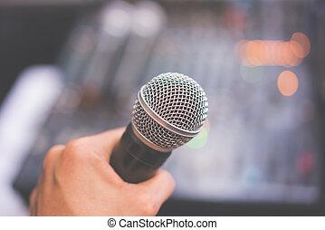 ter, misturador mão, corredor, controle, microfone