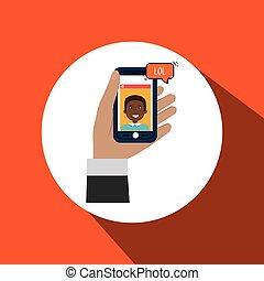 ter, smartphone, mão, ícone