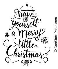 ter, você mesmo, um, feliz, pequeno, natal