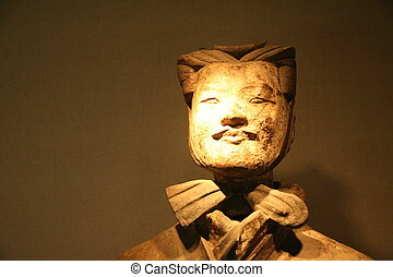 terakota, wojownik, w, xian