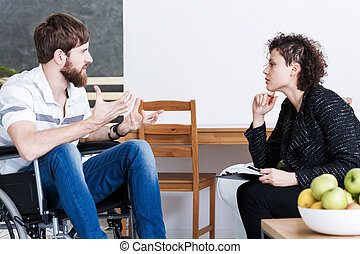 terapeut, diskuter, hos, disabled, patient