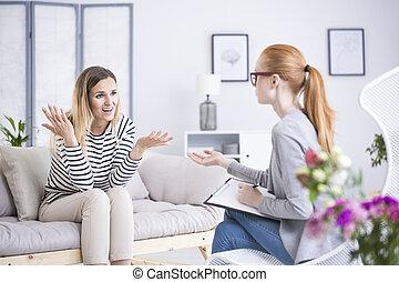 terapeuta, dyskutując, kobieta, problemy