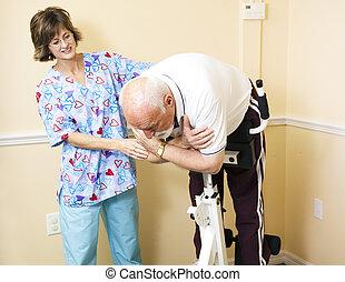 terapeuta físico, ajudando, paciente