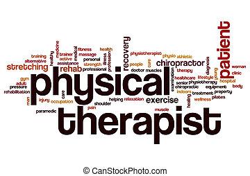 terapeuta físico, palavra, nuvem