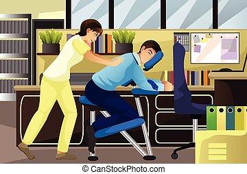 terapeuta, massagem, cliente, trabalhando escritório