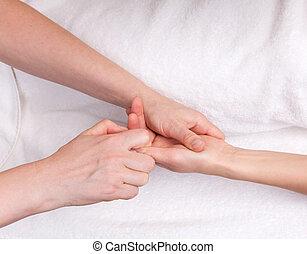 terapeuta, qualificado, palma, massagem, terapêutico