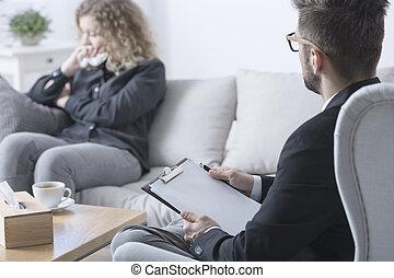 terapeuta, tentando, ajuda