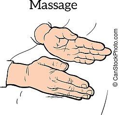 terapeutiske, håndbog, massage., medicinsk, terapi
