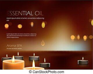 terapia, aroma, candles., realistico, illustrazione, urente, vettore, rilassamento, terme, meditazione, composizione