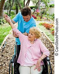terapia, artrite, -, físico