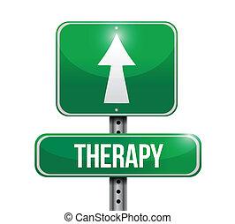 terapia, desenho, estrada, ilustração, sinal