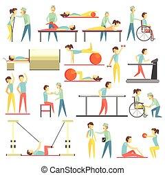 terapia física, infographic, ilustração
