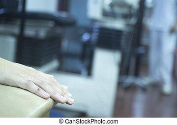 terapia, fizjoterapia, fizyczny, pacjent, ręka