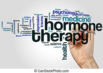 terapia, hormônio, palavra, nuvem