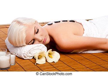 terapia lastone, em, relaxante, spa