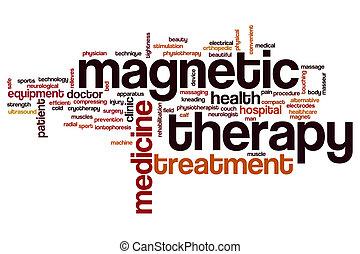 terapia, magnético, palabra, nube