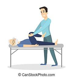 terapia, massaggio, man.
