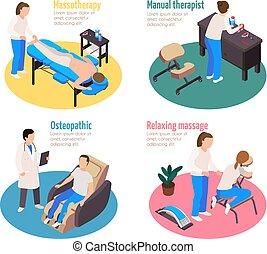 terapia massaggio, set, compositions
