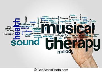 terapia, palavra, musical, nuvem