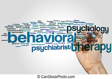 terapia, palavra, nuvem, behavioral
