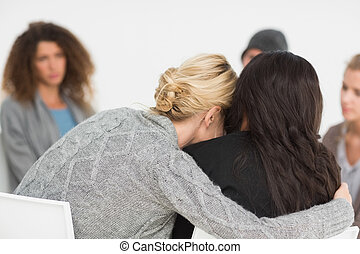 terapia, rehabilitación, mujeres, grupo, se abrazar